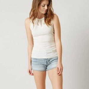 Gimmicks by Buckle Cream Ribbed Tank Top Size L